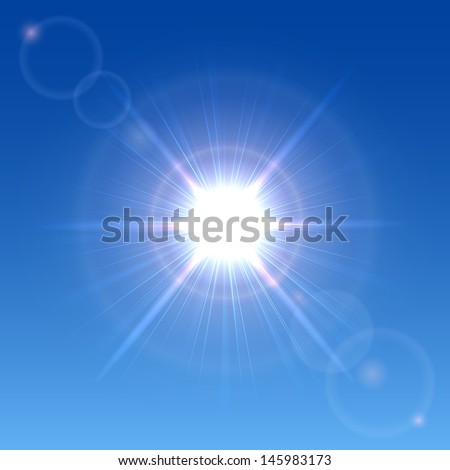 Sun shining in a clear blue sky, illustration.