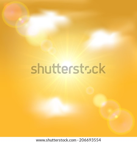Sun shining in orange sky with clouds, illustration.