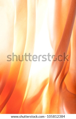 Sun shining through the curtains on beautiful summer day. - stock photo