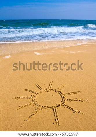 Sun sign  on sea beach