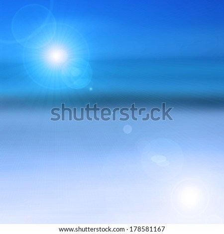 sun sky sea and rays flare background