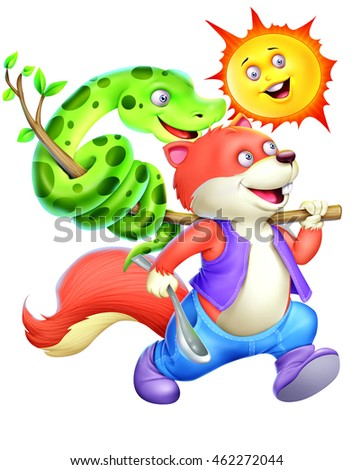 Sun, Squirrel and snake