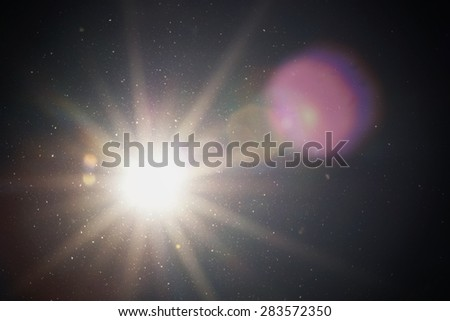 sun sunbeams texture and flying fuzz - stock photo