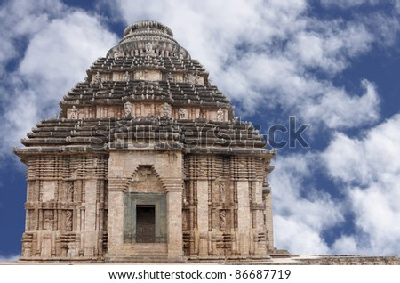 Sun temple Konark above the second level of porch on clear sky - stock photo