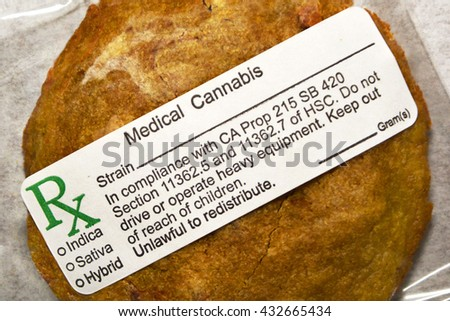 SUN VALLEY, CA - MAY 26, 2016: An edible medical marijuana cookie labeled and packaged for sale at a medical marijuana dispensary in Sun Valley, CA on May 26, 2016.