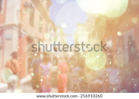sun vintage blur background of people on vacation - stock photo