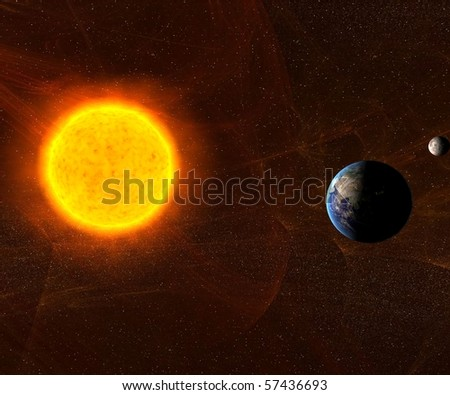 Sun with Earth and Moon - stock photo