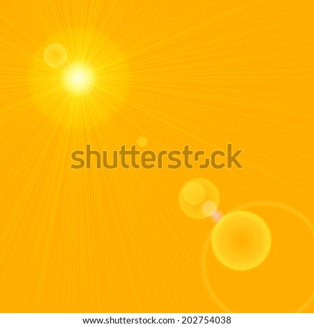sun with rays and yellow background