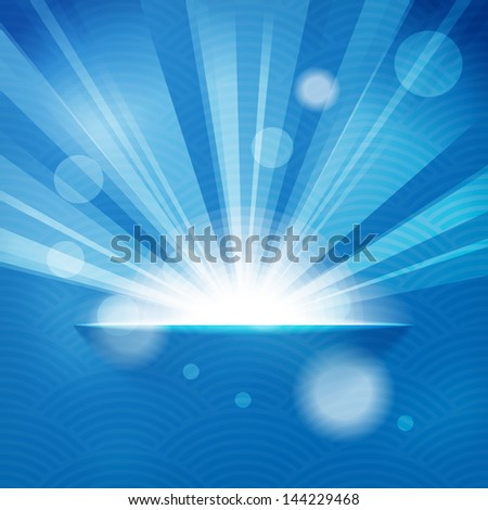 sun with rays on blue background - stock photo