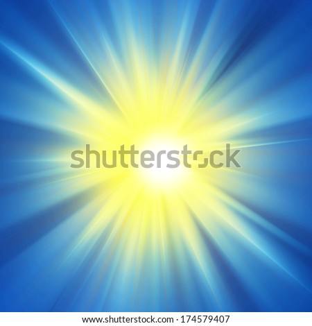 sun yellow and blue sky background