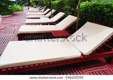 sunbath in garden for relax - stock photo