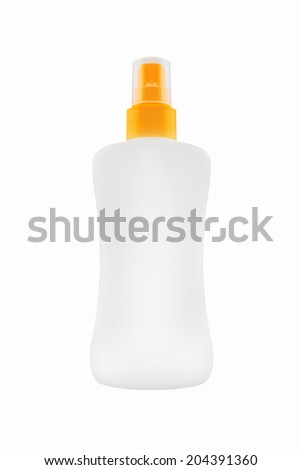 Sunbath oil or sunscreen bottle. Blank white plastic bottle with work path - stock photo