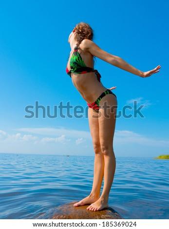 Sunbathing Bikini Bliss  - stock photo