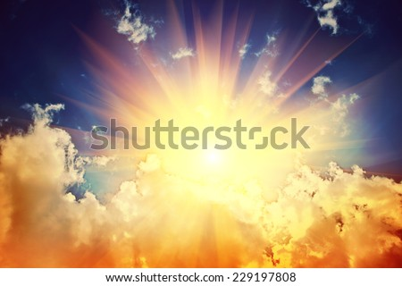 sunbeam in the cloud instagram stile - stock photo
