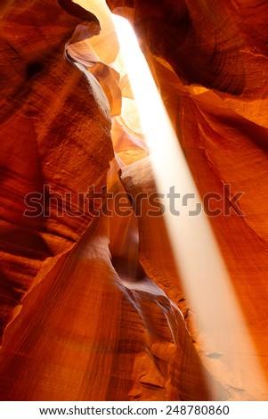 Sunbeam in Upper Antelope Canyon, Arizona, US - stock photo