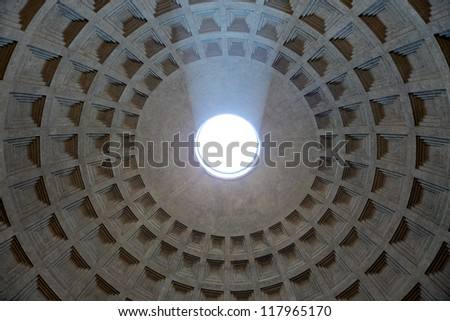 Sunbeams falling in Pantheon, Rome,Italy - stock photo
