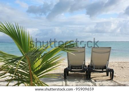 Sunbed on the beach - stock photo