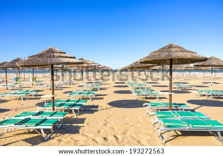 Sunbeds on Rimini beach - Italy
