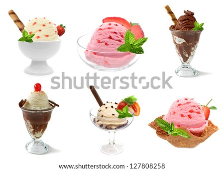 Sundaes ice Cream Assortment In Bowl On White Background - stock photo