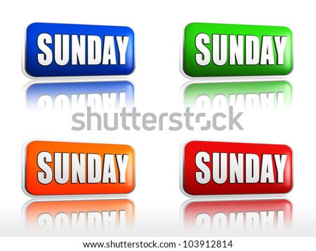 Sunday Four color buttons with sign red, blue, orange, green - stock photo