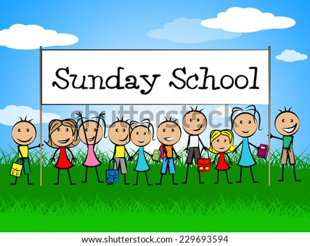 Sunday School Banner Showing Devotee Church And Kids - stock photo