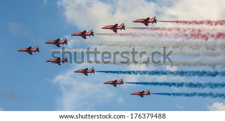 SUNDERLAND, UK - JULY 27th 2013: The RAF aerobatics team fly in formation at the Sunderland air show 2013. - stock photo