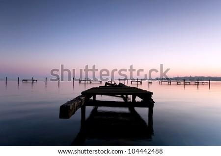 sundown at the lake, light mood,  sundown - stock photo