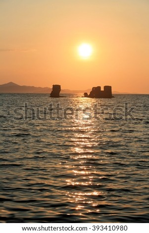 sundown in Sukosan, Croatia - stock photo
