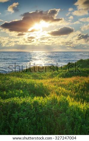 Sundown landscape composition. Sky, sea, and green grass. - stock photo