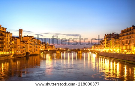 Sundown on Arno river in Florence during spring