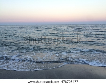 Sundown on the sea, beautiful color of sky