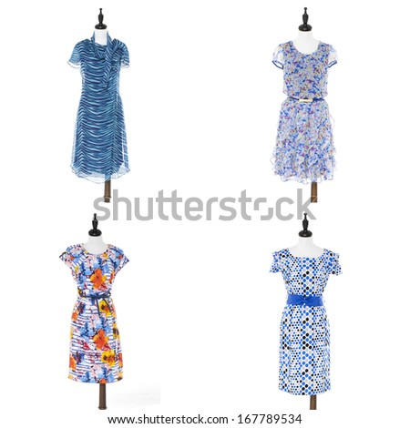 sundress in female elegant clothes on a four dummy isolated  - stock photo