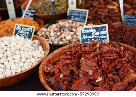Sundried tomatoes for sale - stock photo
