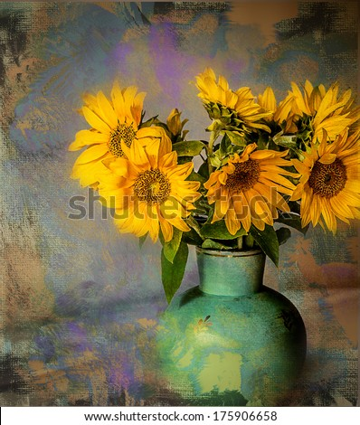 Sunflower in vase. Texture conceptual image. - stock photo
