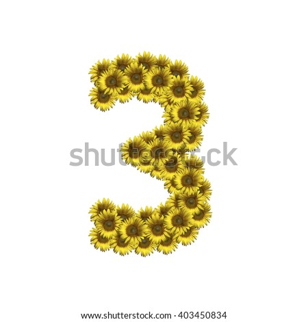 Sunflower number isolated on white background, number 3