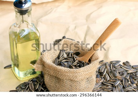 Sunflower oil and seeds - stock photo