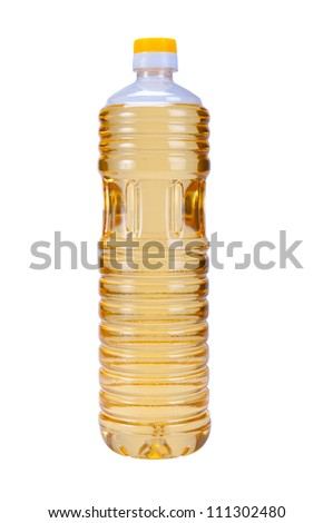 Sunflower oil in plastic bottle isolated on white background - stock photo