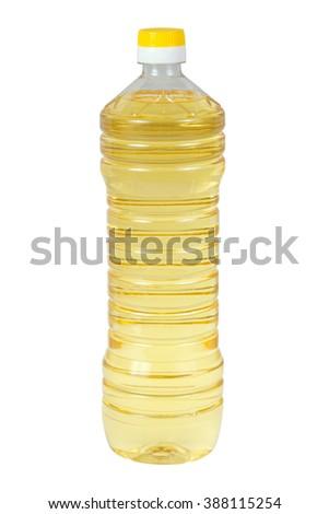 Sunflower oil in plastic bottle isolated on white background - stock photo