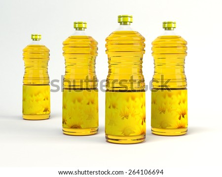 Sunflower oil is bottled. 3D - stock photo