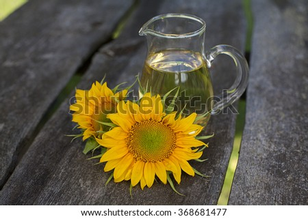 sunflower oil on garden table