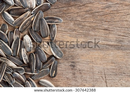 Sunflower seed on wooden table