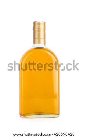 Sunflower seed (or olive, or corn) oil in glass bottle isolated on white background - stock photo