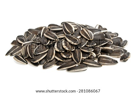 Sunflower seeds on a white background