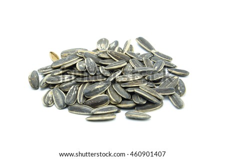 sunflower seeds on white background
