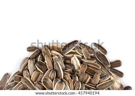 sunflower seeds pile isolated on white background