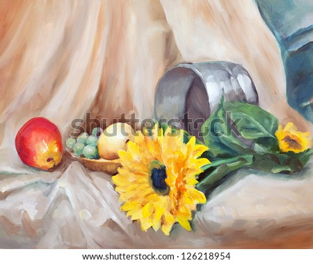 sunflower still life with a bright yellow flower buds yellow and red green grapes and metal sieve on the brown cloth painted with oil paints on canvas - stock photo