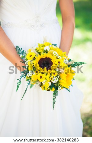 Sunflower wedding bouquet stock images royalty free images sunflower wedding bouquet junglespirit Image collections