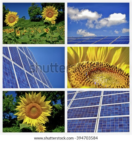Sunflowers and solar panels collage - stock photo
