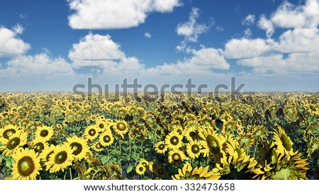 Sunflowers Computer generated 3D illustration - stock photo