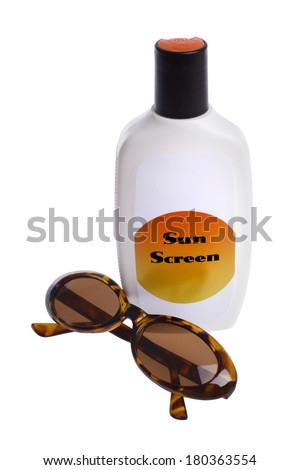 Sunglasses and Bottle of Sun Screen - stock photo